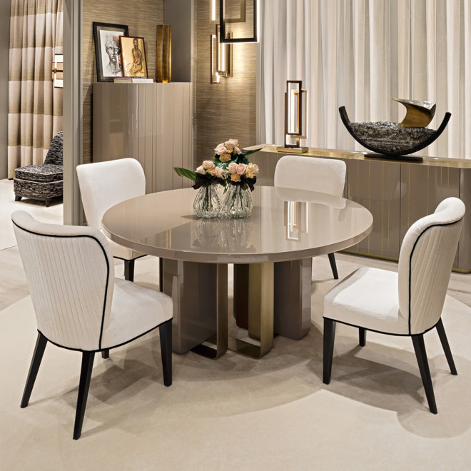 Luxury Italian Designer Dining Table And Chairs Set 5