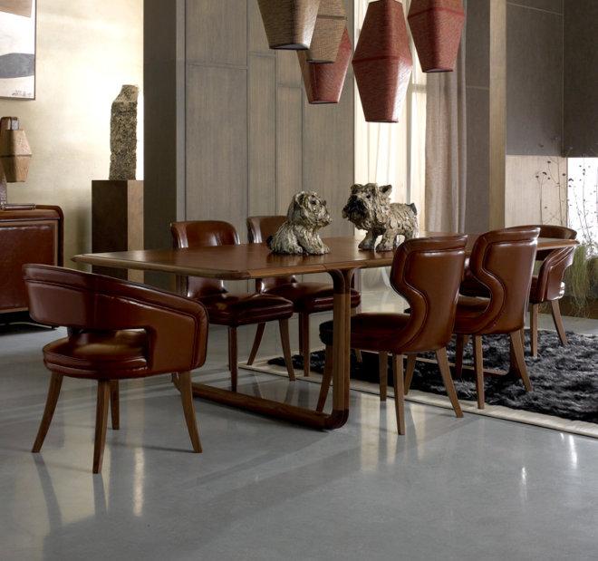 leather walnut table