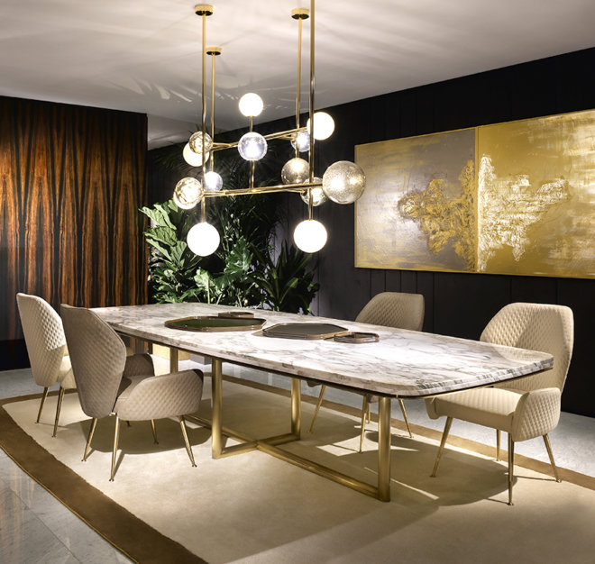 marble dining table long brass